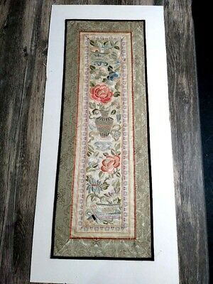 Antique 1800's Chinese Embroidered Silk Panel 12x24 Floral Red Rose Vases