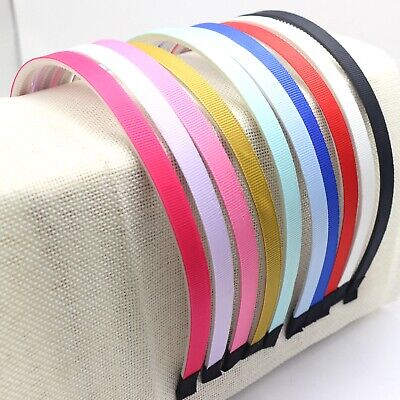 10 Mixed Color Plastic Covered Grosgrain Ribbon Hair Band Headband 10mm Teeth