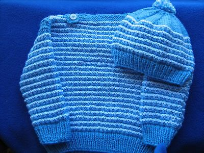 CLEARANCE SALE  Hand Knit ,Baby Hat and Jumper/sweater 4 to 6 Months 8Ply DK