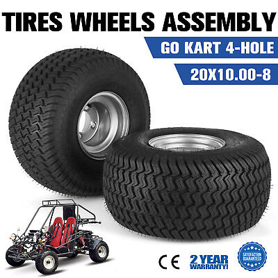 2 PCS Go Kart Tires Rims Wheels Assembly 4-Hole Durable Tractor Off Road