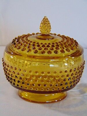 Vintage Mid-century Amber Hobnail Footed Patterned Glass Candy Dish W/ Lid