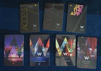 Lot 7 W Hotels Room Key Cards  Bali Barcelona Boston New York All Different
