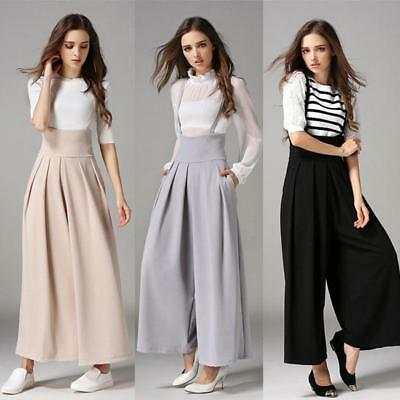 Women Casual Palazzo High Waist Career Wide Leg Culottes Trousers Loose Pants