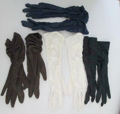 Vintage Ladies Gloves Glove Brown Blue Black White Evening Day Retro Lot