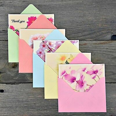 Thank You Cards Set 50 Cards With Envelopes Floral Design Assorted Foldable Note