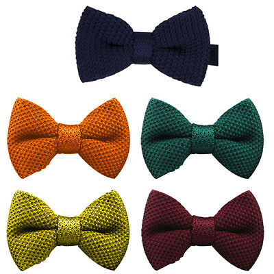 Fashion Men's Boys Pre-Tied Wedding Event Prom Kintted Bow Tie Clip Uk Seller