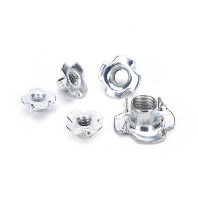 10X M4/M5/M6/M8/M10 Four Prong Furniture T Nut Inserts For Wood Zinc Plated
