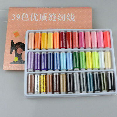1 Box 39 Pcs Spools Colorful Polyester Embroidery Sewing Quilting Thread
