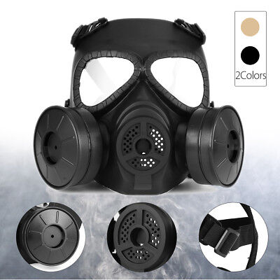 M04 Wargame Airsoft Gas Mask Double Filter Fan CS Edition Perspiration Dust Face
