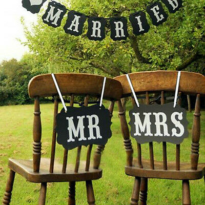 Wedding Mr And Mrs Signs Chair Sign Props Bride Groom Banner Reception Photo LT