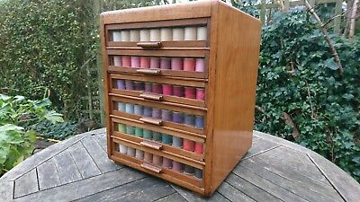 Vintage haberdashery display cabinet specimen drawers collector bobbins not incl