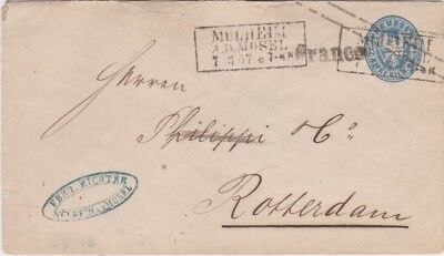 Prussia-1867 2 Sgr blue PS letter Mulheim cover to Rotterdam, Netherlands