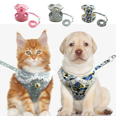 Kitten Cat Walking Harness Leash Leads Collar Adjustable Small Dog Vest for Pets