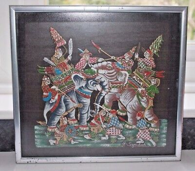 A Stunning Signed Framed Painted Silk Featuring War Elephants & Riders In Battle