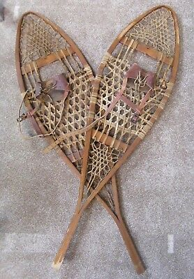 Pair Of Large Antique Snow Shoes / Leather Straps