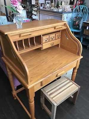 Small Roll Top Oak Desk