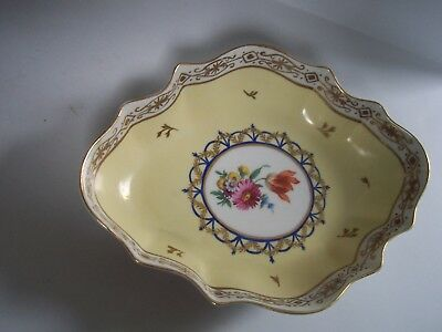 Heirloom Yellow Floral Oval Porcelain Bowl Hand Painted Gold Trim