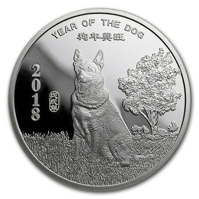 2018 1/2 oz. Silver Round Year of the Dog .999 Pure Silver    Quantity of 10