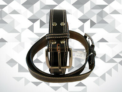 Work Heavy Duty Mens Leather Belt Gun Holster Carry Black Leather White Stitch