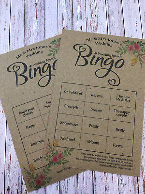 8x Wedding BIngo Cards. Wedding Speech Bingo. Wedding Bingo. Speech Bingo