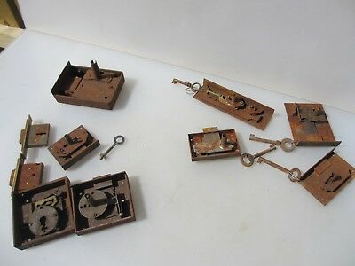 Vintage Brass Cabinet Locks Cupboard Bolt Key Old Iron Antique Job Lot Bulk