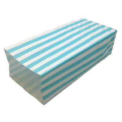 500 Blue Pick and Mix Paper Bags Candy Stripe Popcorn Party Sweet 10cm x 25cm