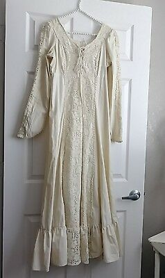 Vtg 70s Gunne Sax Dress Boho Wedding Knit Ivory Floral Lace Hippie Prairie Maxi