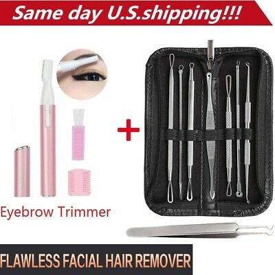 Electric Facial Hair Eyebrow Trimmer+ Blackhead Acne Pimple Extractor Remover US