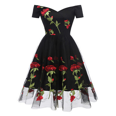 Damen Vintage Abendkleid Cocktail Schulterfrei Knielang Spitzen Ball Kleid Party