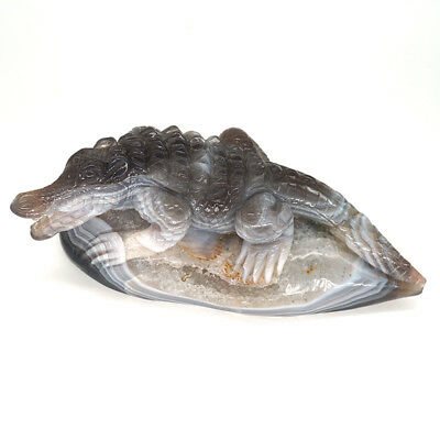 Crocodile Figurine Crystal Natural Gemstone Agate Carving Geode Alligator Statue