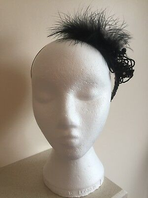 Handmade Black Feather And Bead Headband Fascinator