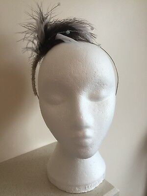 Handmade Brown and White Feather Headband Fascinator
