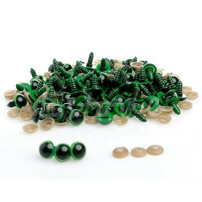 5 pairs of 16mm Green Safety Teddy Bear Eyes. 10 units Washers. Soft FREE POST