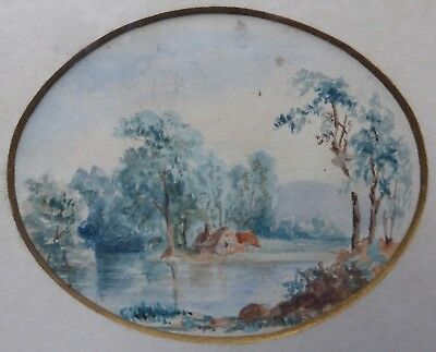 Lovely Small Antique Original Watercolour Painting Late 19thC Landscape