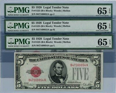 Fr. 1525 $5 1928 3 Consecutive Legal Tender Notes Gem Unc 65 - 65 EPQ PMG