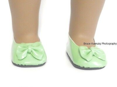 Green Patent Bow Shoes 18 in Doll Clothes Fits American Girl