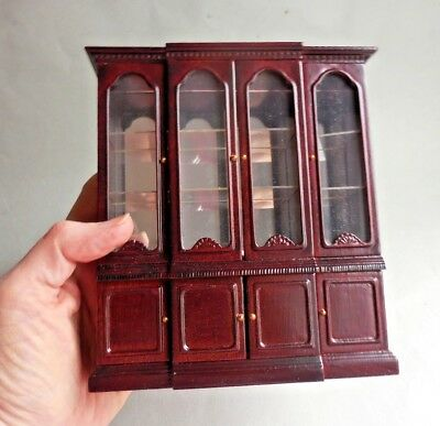 Dollhouse Miniature ~ Mahogany Mirrored China Cabinet ~ Vintage Bespaq