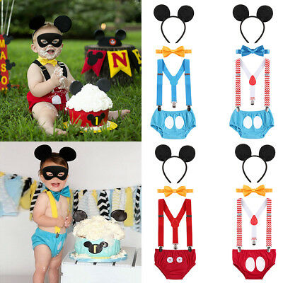 1st First Birthday Baby Boy Cake Smash Outfit Mickey Mouse Costume Photo Props