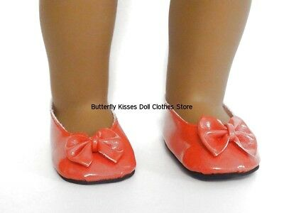 Red Patent Bow Shoes 18 in Doll Clothes Fits American Girl