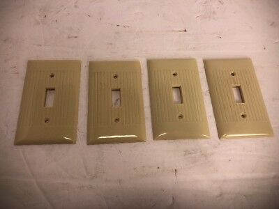 4Vtg Single toggle SWITCH Wall Cover Plate IVORY RIBBED Bakelite SIERRA Electric