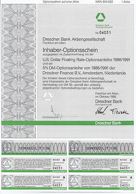 DRESDNER BANK AG Frankfurt a. Main 1986 Optionsschein a. 1 Aktie, Os