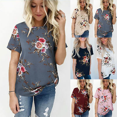 Summer Womens Lady Floral Tops Blouse Ladies Short Sleeve T-Shirt Plus Size 6-20