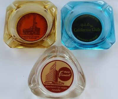Vintage Casino ASHTRAYS - LOT of 3 Downtown LAS VEGAS Club, FREMONT Hotel +