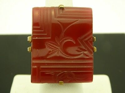 Vintage Art Deco Antique Brass Floral Carved Carnelian Art Glass Ring 5.75 As Is