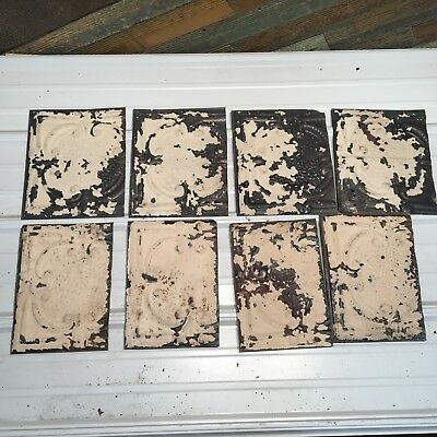 """8pc Lot of 12"""" and under Antique Ceiling Tin Vintage Reclaimed Salvage Art Craft"""