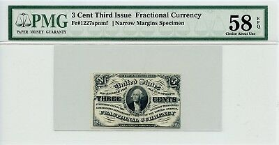 Fr 1227 3 Cent Third Issue Fractional Currency Narrow Margins SPECIMEN PMG 58EPQ
