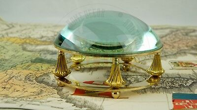 Vintage Solid Brass Magnifying Glass Round Desk Office Magnifying Glass