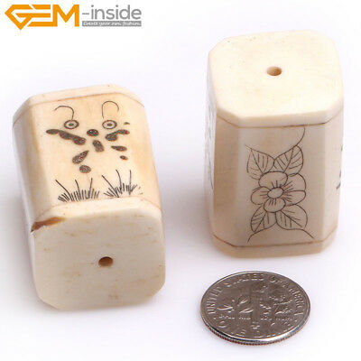 New Big Hole 1.2mm Cuboid Carved Bone Beads For Jewelry Making In Lots 2 pcs GI