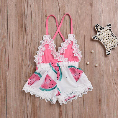 Toddler Kids Baby Girl Romper Outfits Clothes Summer Beach Lace Strap Jumpsuit