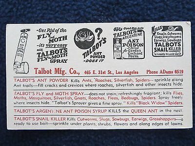 Talbots Fly Moth Ant Snail Blotter LA Market late 1940's Unmarked Clean
